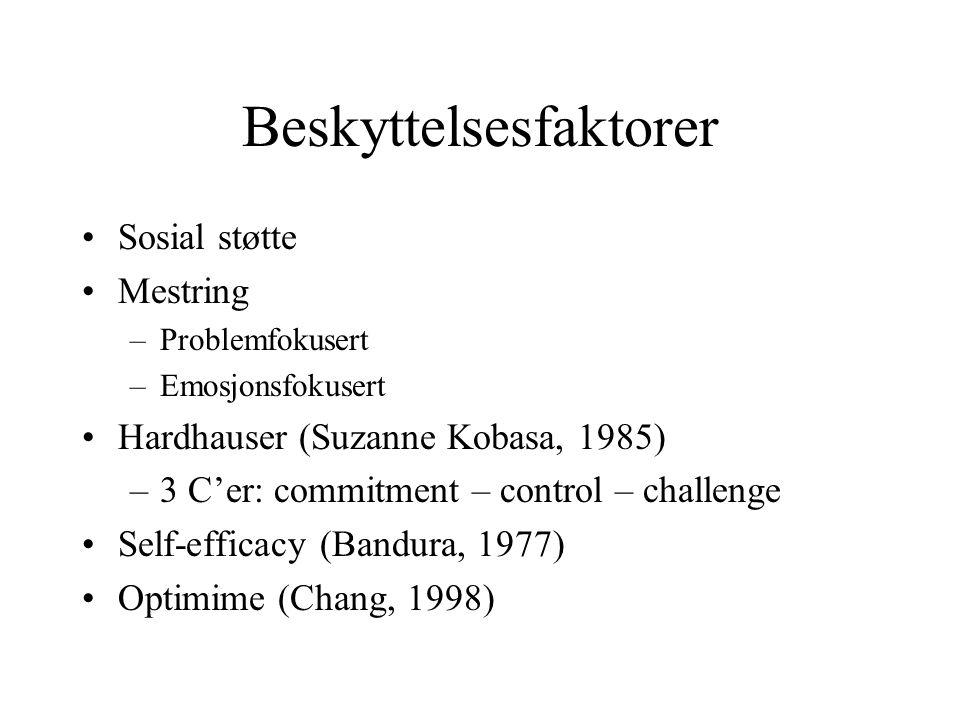 Beskyttelsesfaktorer Sosial støtte Mestring –Problemfokusert –Emosjonsfokusert Hardhauser (Suzanne Kobasa, 1985) –3 C'er: commitment – control – chall
