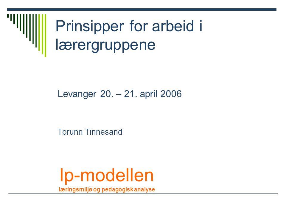 Prinsipper for arbeid i lærergruppene Levanger 20.