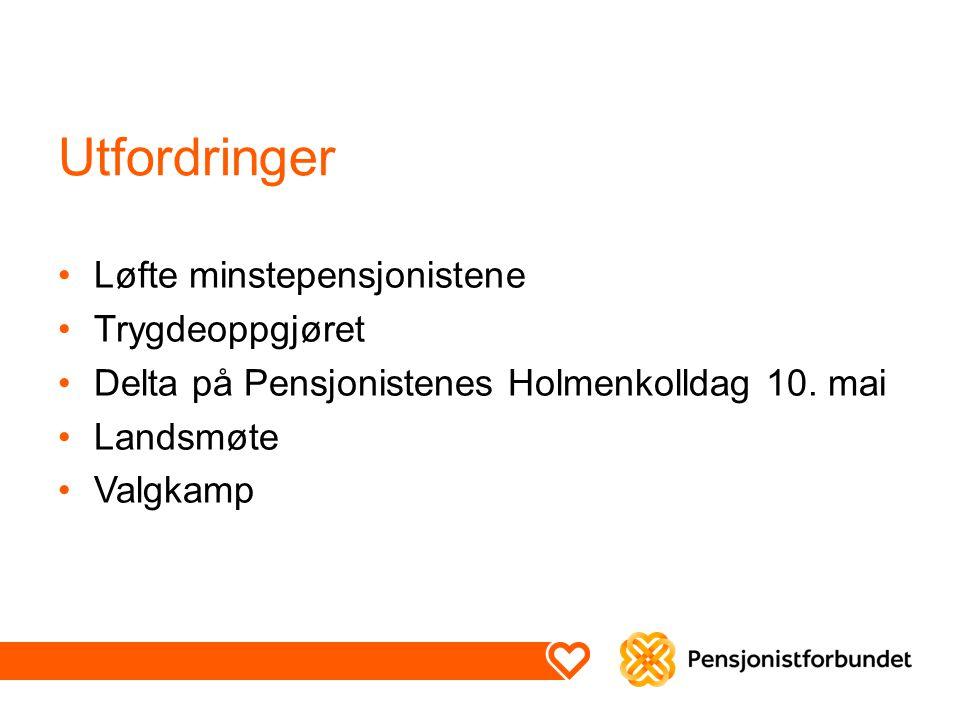 Utfordringer Løfte minstepensjonistene Trygdeoppgjøret Delta på Pensjonistenes Holmenkolldag 10.