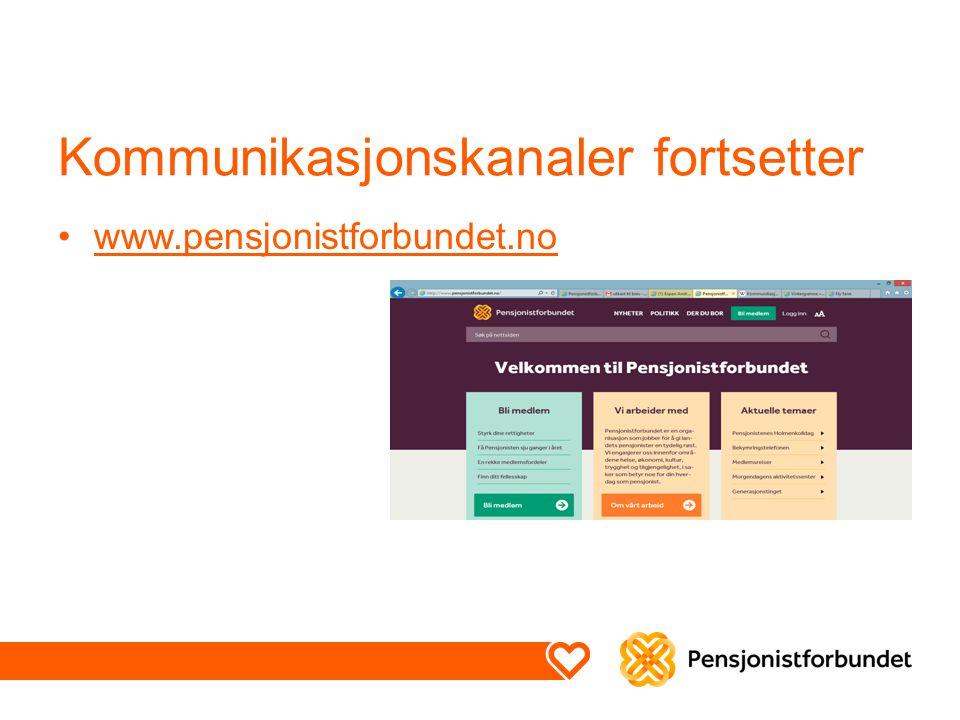 Kommunikasjonskanaler fortsetter www.pensjonistforbundet.no