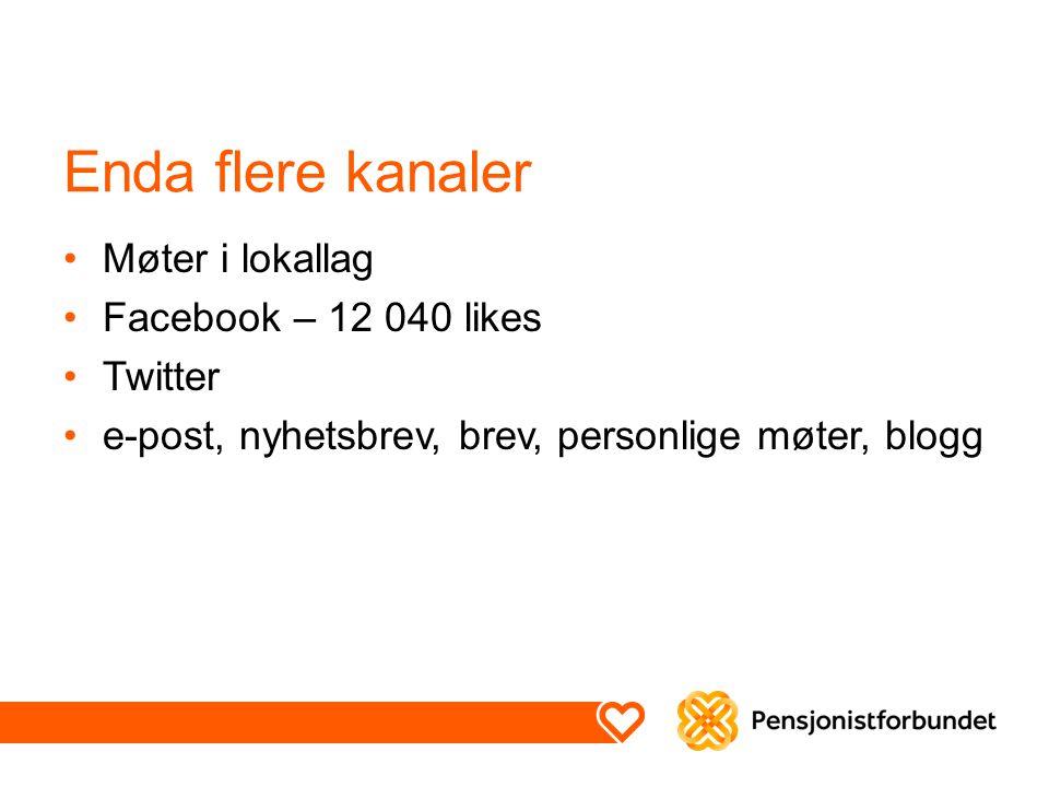 Enda flere kanaler Møter i lokallag Facebook – 12 040 likes Twitter e-post, nyhetsbrev, brev, personlige møter, blogg