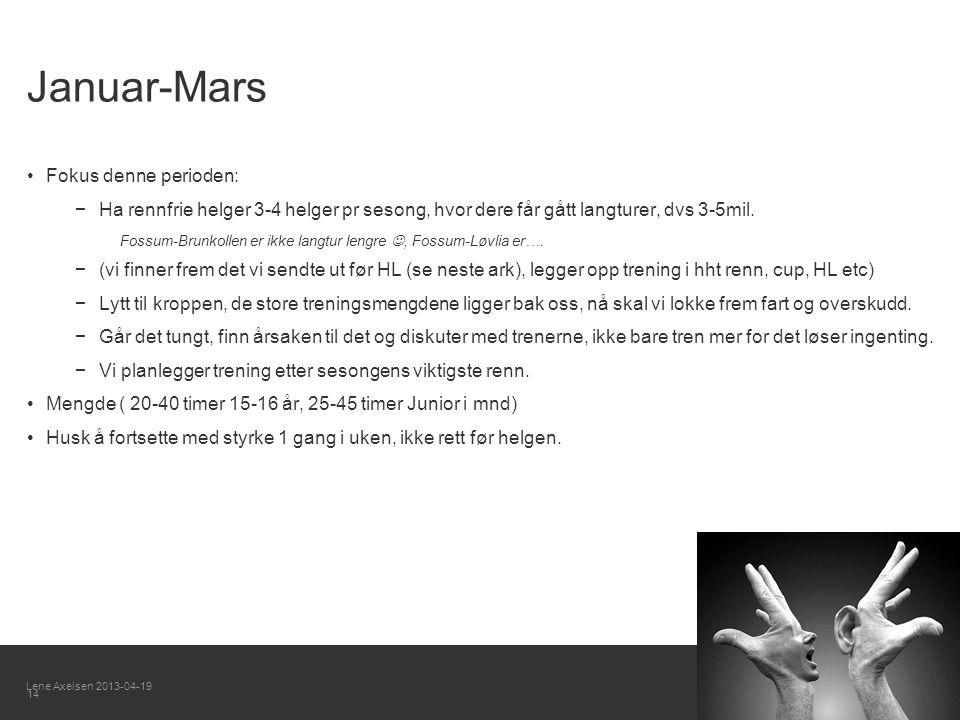 Januar-Mars Fokus denne perioden: −Ha rennfrie helger 3-4 helger pr sesong, hvor dere får gått langturer, dvs 3-5mil.