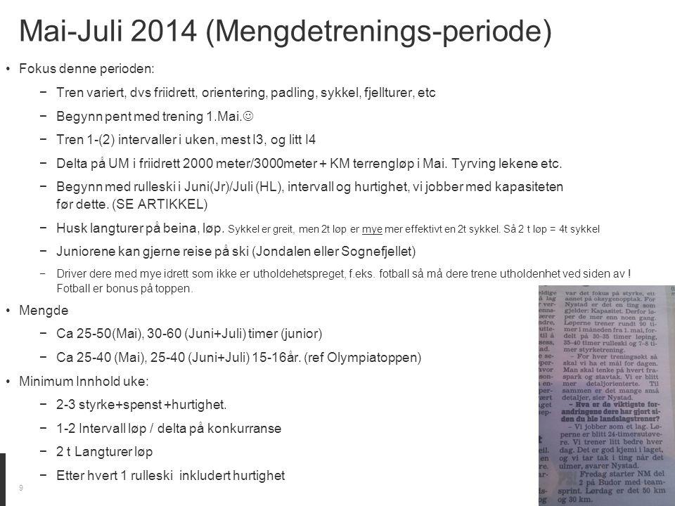 Mai-Juli 2014 (Mengdetrenings-periode) Fokus denne perioden: −Tren variert, dvs friidrett, orientering, padling, sykkel, fjellturer, etc −Begynn pent med trening 1.Mai.