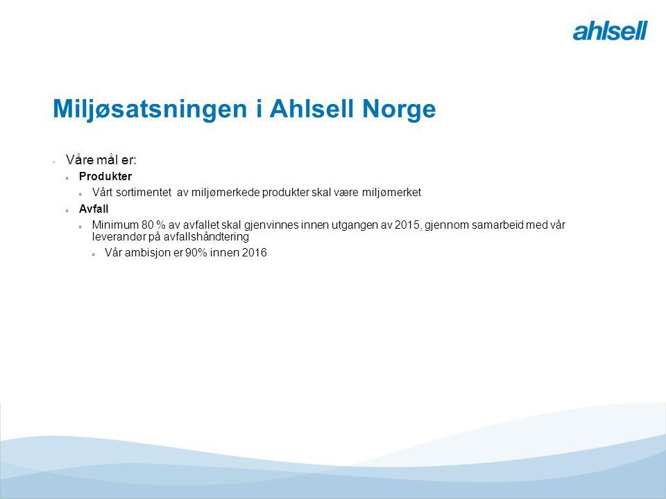 Miljøsatsningen i Ahlsell Norge Våre mål er: Produkter Vårt sortimentet av miljømerkede produkter skal være miljømerket Avfall Minimum 80 % av avfallet skal gjenvinnes innen utgangen av 2015, gjennom samarbeid med vår leverandør på avfallshåndtering Vår ambisjon er 90% innen 2016