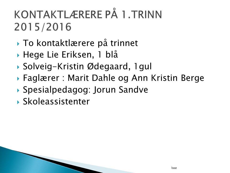  To kontaktlærere på trinnet  Hege Lie Eriksen, 1 blå  Solveig-Kristin Ødegaard, 1gul  Faglærer : Marit Dahle og Ann Kristin Berge  Spesialpedago
