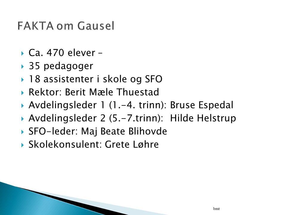  Ca. 470 elever –  35 pedagoger  18 assistenter i skole og SFO  Rektor: Berit Mæle Thuestad  Avdelingsleder 1 (1.-4. trinn): Bruse Espedal  Avde