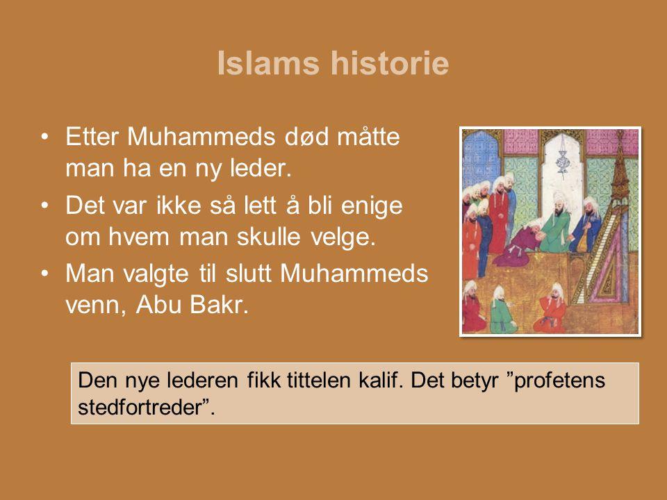 Islams historie Etter Muhammeds død måtte man ha en ny leder. Det var ikke så lett å bli enige om hvem man skulle velge. Man valgte til slutt Muhammed