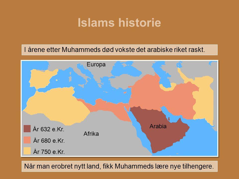 Islams historie I årene etter Muhammeds død vokste det arabiske riket raskt. Når man erobret nytt land, fikk Muhammeds lære nye tilhengere. År 632 e.K