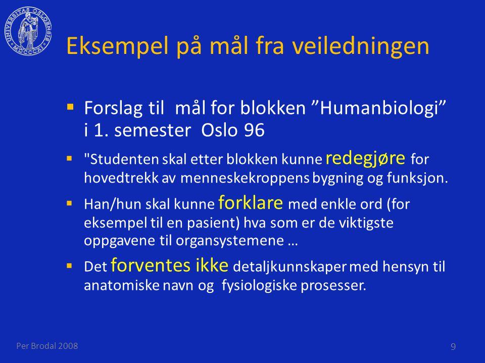 Eksempel på mål fra veiledningen  Forslag til mål for blokken Humanbiologi i 1.