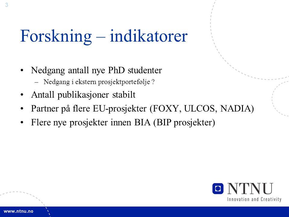 3 Forskning – indikatorer Nedgang antall nye PhD studenter –Nedgang i ekstern prosjektportefølje .