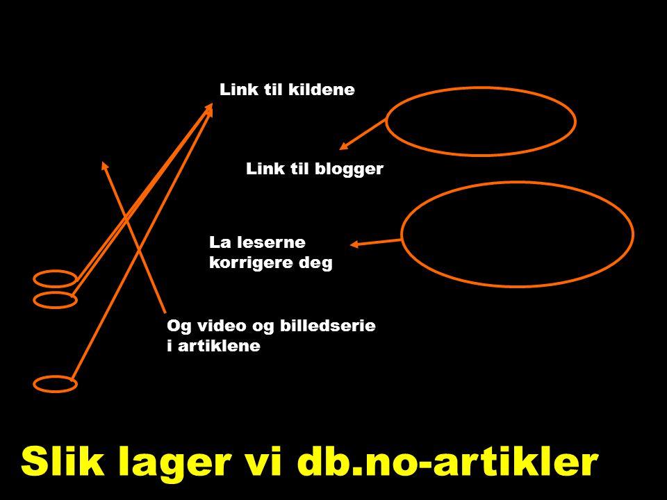 Nettjournalistikk Link til kildene Link til blogger La leserne korrigere deg Plass til video, mange bilder og lang tekst Slik lager vi db.no-artikler Og video og billedserie i artiklene