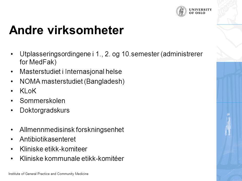 Institute of General Practice and Community Medicine Andre virksomheter Utplasseringsordingene i 1., 2.