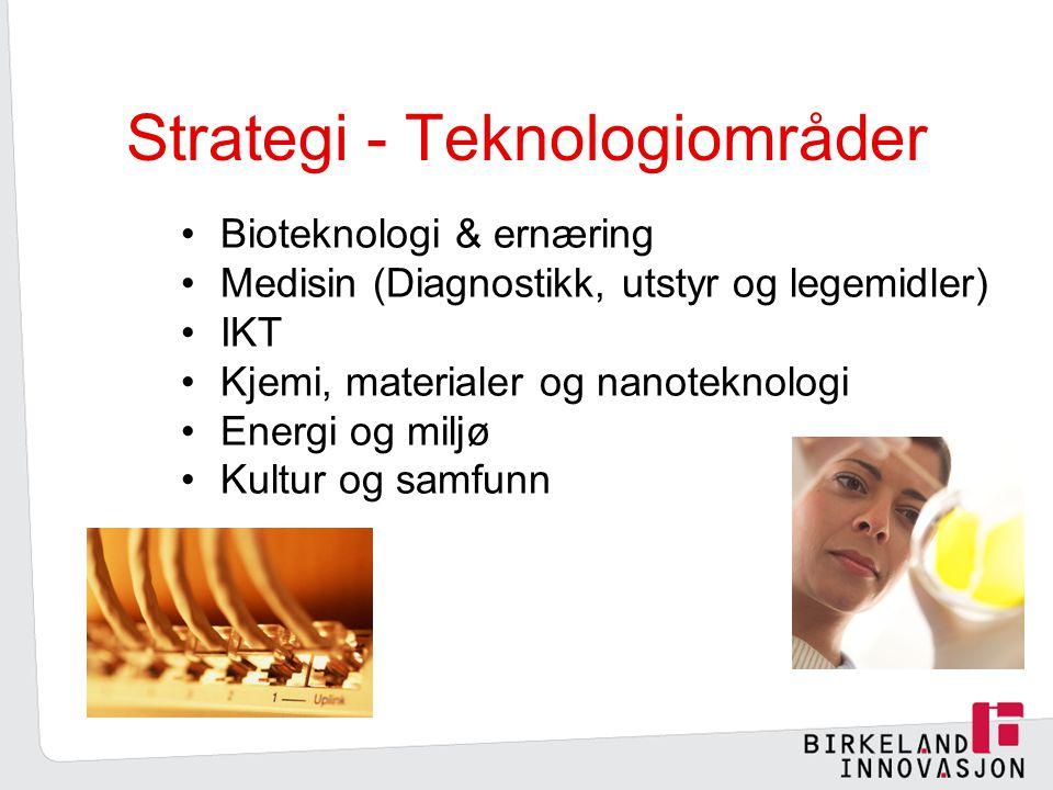 Strategi - Teknologiområder Bioteknologi & ernæring Medisin (Diagnostikk, utstyr og legemidler) IKT Kjemi, materialer og nanoteknologi Energi og miljø Kultur og samfunn