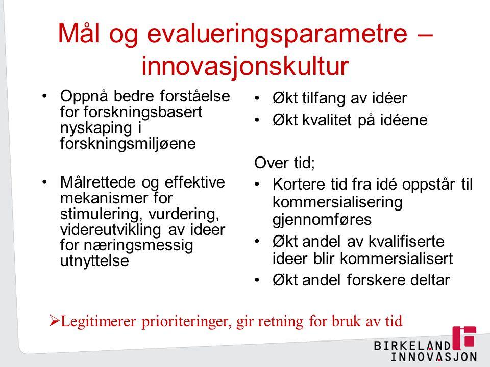 Mål og evalueringsparametre – innovasjonskultur Oppnå bedre forståelse for forskningsbasert nyskaping i forskningsmiljøene Målrettede og effektive mekanismer for stimulering, vurdering, videreutvikling av ideer for næringsmessig utnyttelse Økt tilfang av idéer Økt kvalitet på idéene Over tid; Kortere tid fra idé oppstår til kommersialisering gjennomføres Økt andel av kvalifiserte ideer blir kommersialisert Økt andel forskere deltar  Legitimerer prioriteringer, gir retning for bruk av tid