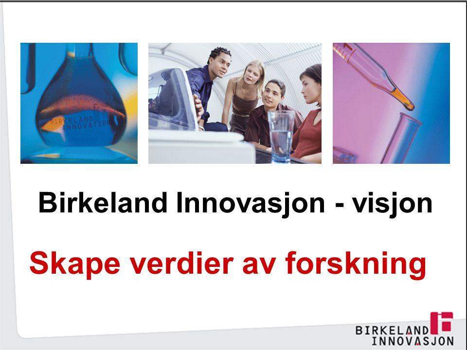Birkeland Innovasjon - visjon Skape verdier av forskning
