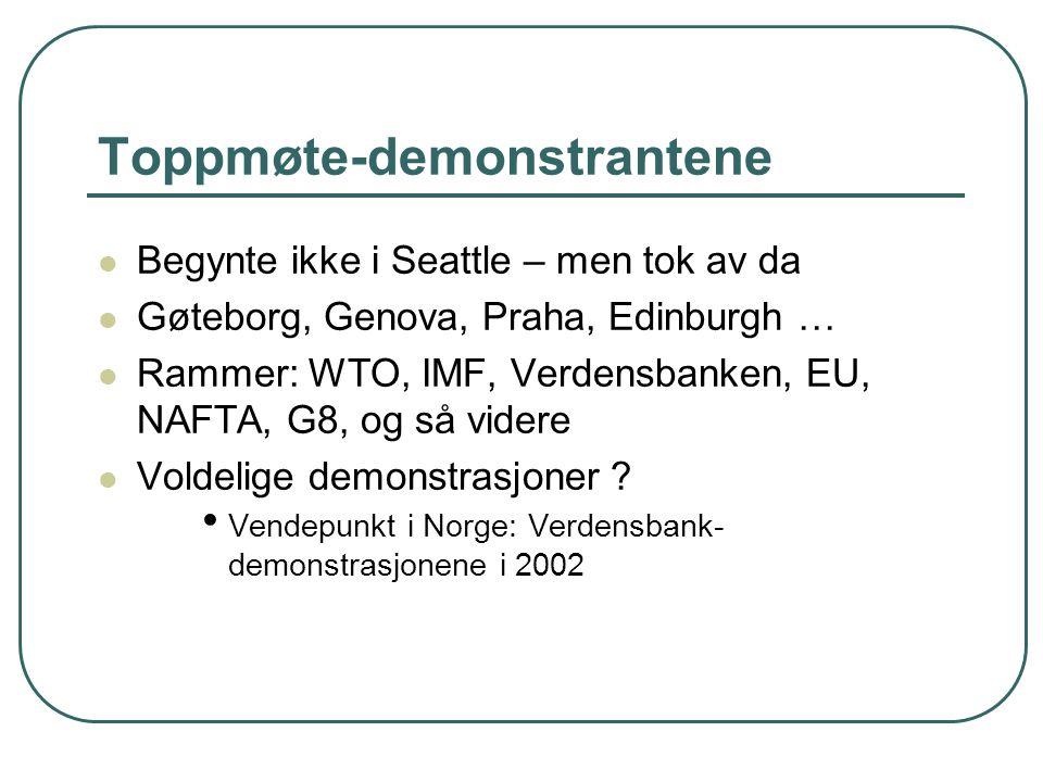 Toppmøte-demonstrantene Begynte ikke i Seattle – men tok av da Gøteborg, Genova, Praha, Edinburgh … Rammer: WTO, IMF, Verdensbanken, EU, NAFTA, G8, og så videre Voldelige demonstrasjoner .