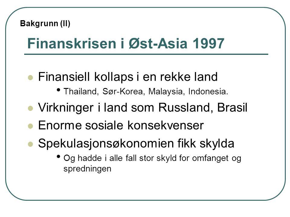 Finanskrisen i Øst-Asia 1997 Finansiell kollaps i en rekke land Thailand, Sør-Korea, Malaysia, Indonesia.