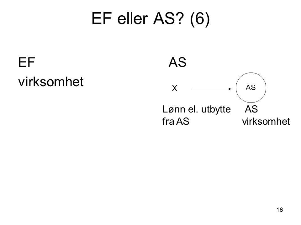 16 EF eller AS? (6) EFAS virksomhet AS X Lønn el. utbytte AS fra AS virksomhet