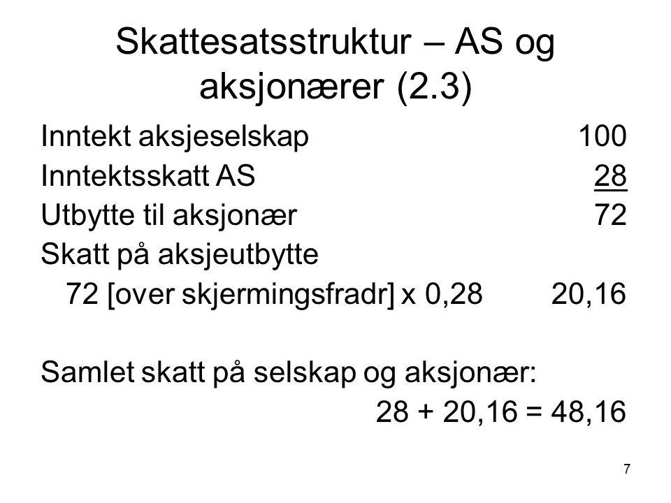 8 Gangen i en skattesak (2.4) År 1: året forut for inntektsåret Skattevedtak, skattekort År 2: Inntektsåret Inntektsopptjening.