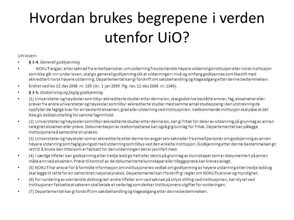 Hvordan brukes begrepene i verden utenfor UiO. UH-loven: § 3-4.