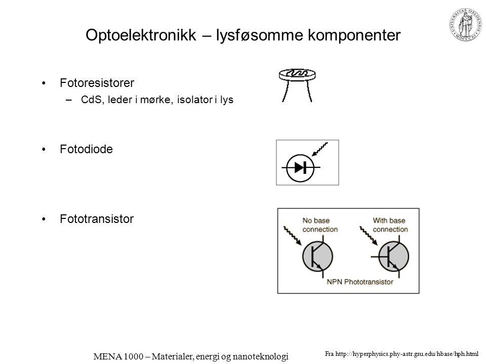 MENA 1000 – Materialer, energi og nanoteknologi Optoelektronikk – emitterende komponenter Lysdioder; elektroluminescens Halvleder-lasere Fra http://hy