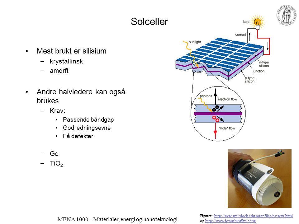 MENA 1000 – Materialer, energi og nanoteknologi Optoelektronikk – lysføsomme komponenter Fotoresistorer –CdS, leder i mørke, isolator i lys Fotodiode