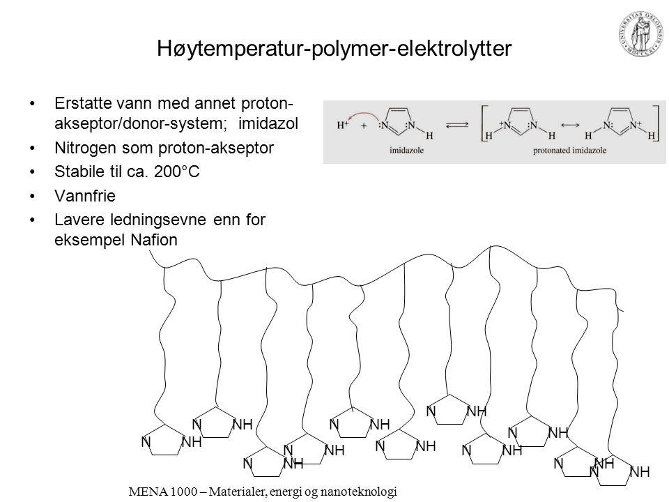 "MENA 1000 – Materialer, energi og nanoteknologi Begrenset temperaturområde for polymerelektrolytter og andre ""faste"" protonledere Ødelegges irreversib"