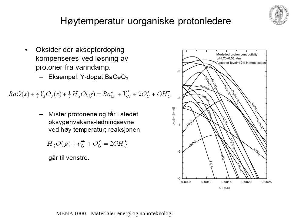 MENA 1000 – Materialer, energi og nanoteknologi Egentlige faste protonledere Krever hopp av protoniske defekter Protonene er sterkt bundet Krever stor