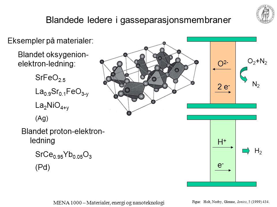 MENA 1000 – Materialer, energi og nanoteknologi Blandede ledere i brenselcelle-elektroder Eksemplene viser mekanismer for katodereaksjonen med forskje