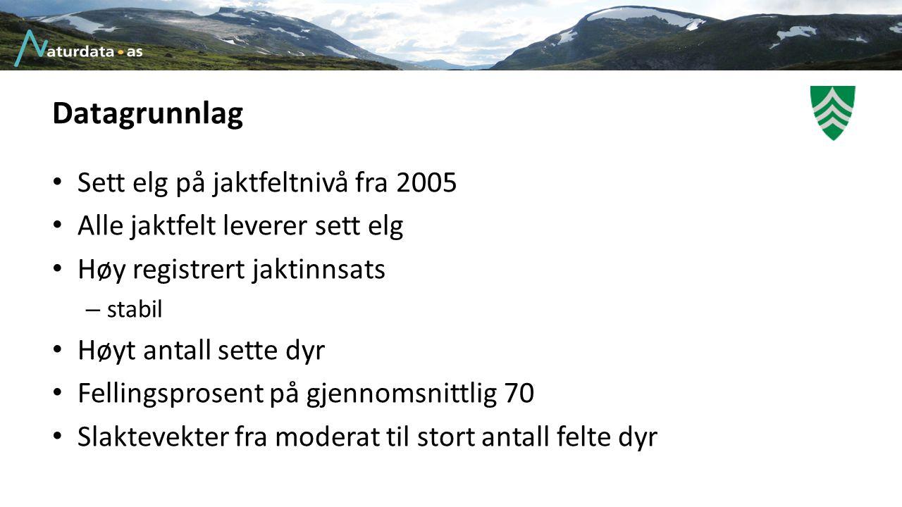 Datagrunnlag Sett elg på jaktfeltnivå fra 2005 Alle jaktfelt leverer sett elg Høy registrert jaktinnsats – stabil Høyt antall sette dyr Fellingsprosen