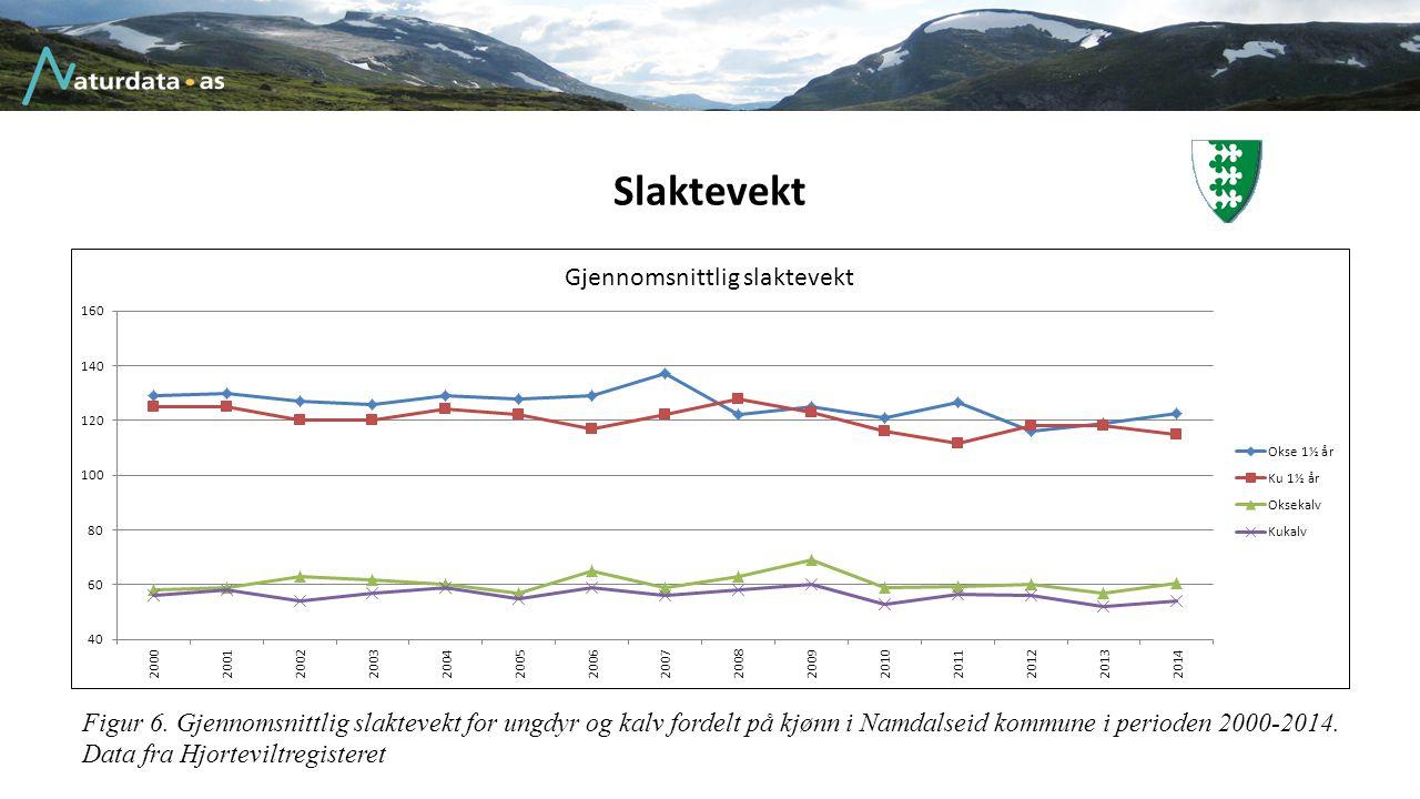 Slaktevekt Figur 6. Gjennomsnittlig slaktevekt for ungdyr og kalv fordelt på kjønn i Namdalseid kommune i perioden 2000-2014. Data fra Hjorteviltregis