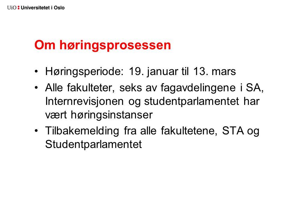 Om høringsprosessen Høringsperiode: 19. januar til 13.
