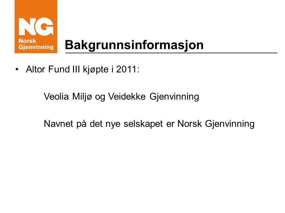 Bakgrunnsinformasjon Altor Fund III kjøpte i 2011: Veolia Miljø og Veidekke Gjenvinning Navnet på det nye selskapet er Norsk Gjenvinning