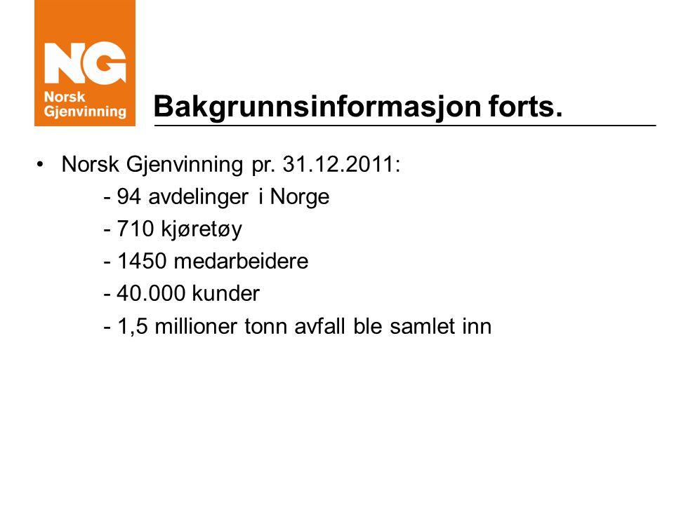 Bakgrunnsinformasjon forts. Norsk Gjenvinning pr.