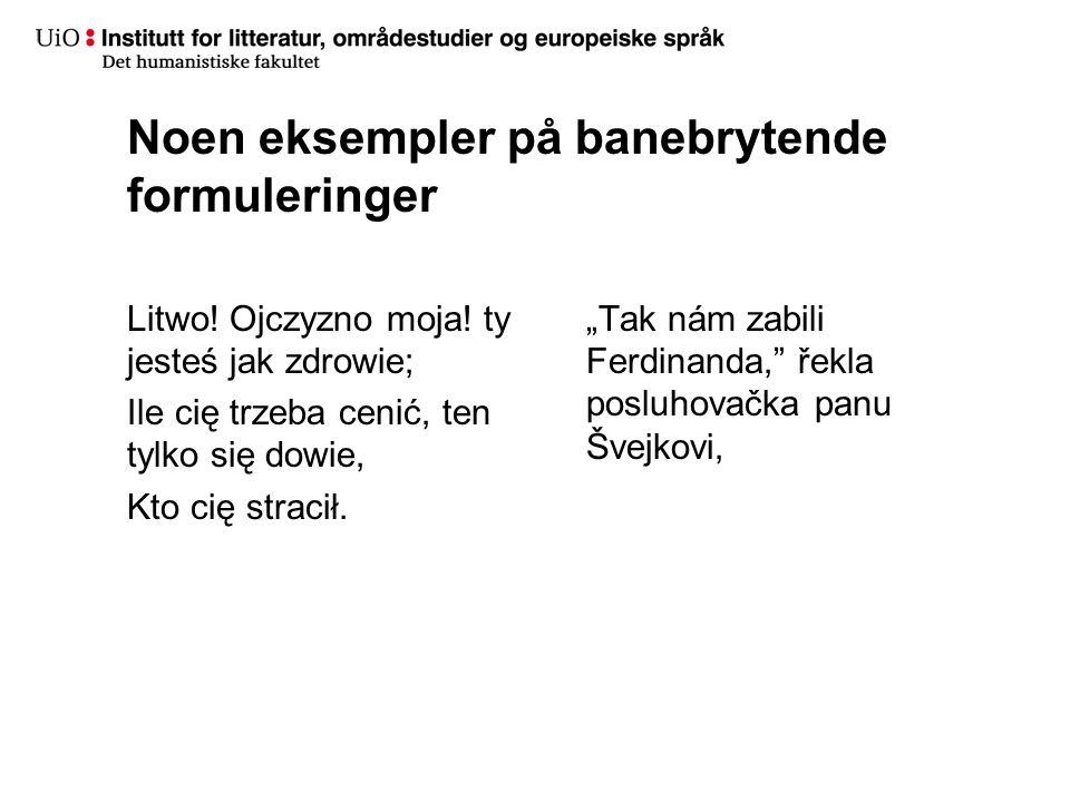 Noen eksempler på banebrytende formuleringer Litwo.