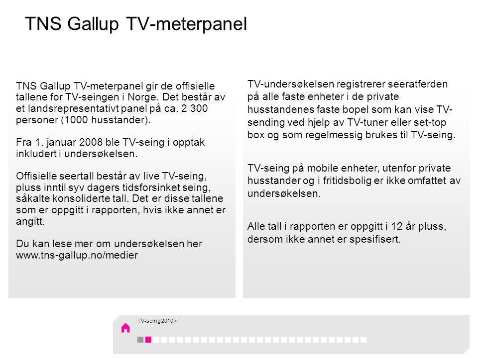 TV-seing i 2010: Rekordhøy tidsforsinket seing Nordmenn så i gjennomsnitt 3 timer og 3 minutter på TV daglig i 2010, noe som er en nedgang på 1 minutt fra 2009, som var det høyeste noensinne.