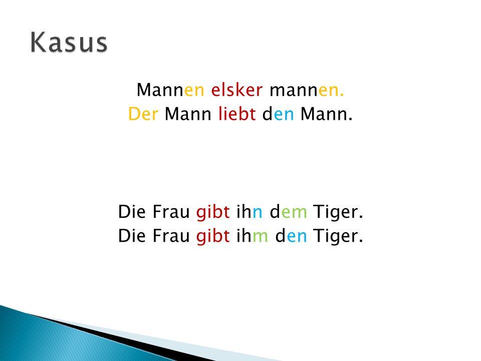 Tysk har fire kasus: nominativ, akkusativ, dativ og genitiv.