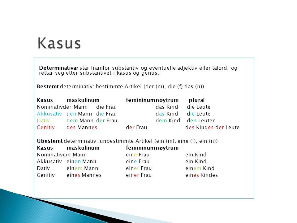 Determinativar står framfor substantiv og eventuelle adjektiv eller talord, og rettar seg etter substantivet i kasus og genus. Bestemt determinativ: b
