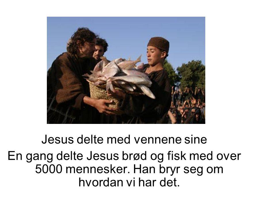 Jesus delte med vennene sine En gang delte Jesus brød og fisk med over 5000 mennesker. Han bryr seg om hvordan vi har det.