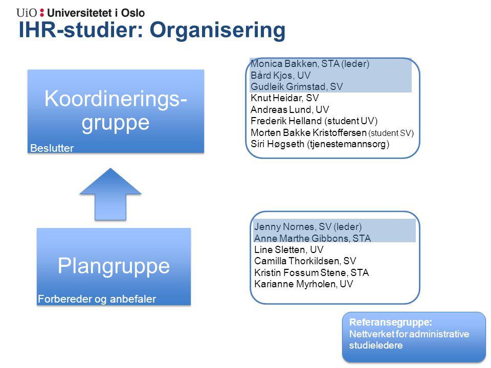 IHR-studier: Organisering Admin.