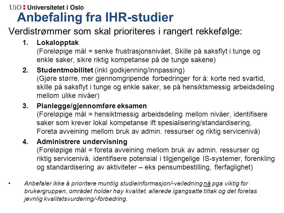 Anbefaling fra IHR-studier Verdistrømmer som skal prioriteres i rangert rekkefølge: 1.Lokalopptak (Foreløpige mål = senke frustrasjonsnivået, Skille p