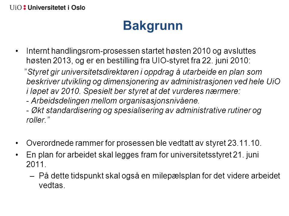 """Bakgrunn Internt handlingsrom-prosessen startet høsten 2010 og avsluttes høsten 2013, og er en bestilling fra UIO-styret fra 22. juni 2010: """"Styret gi"""