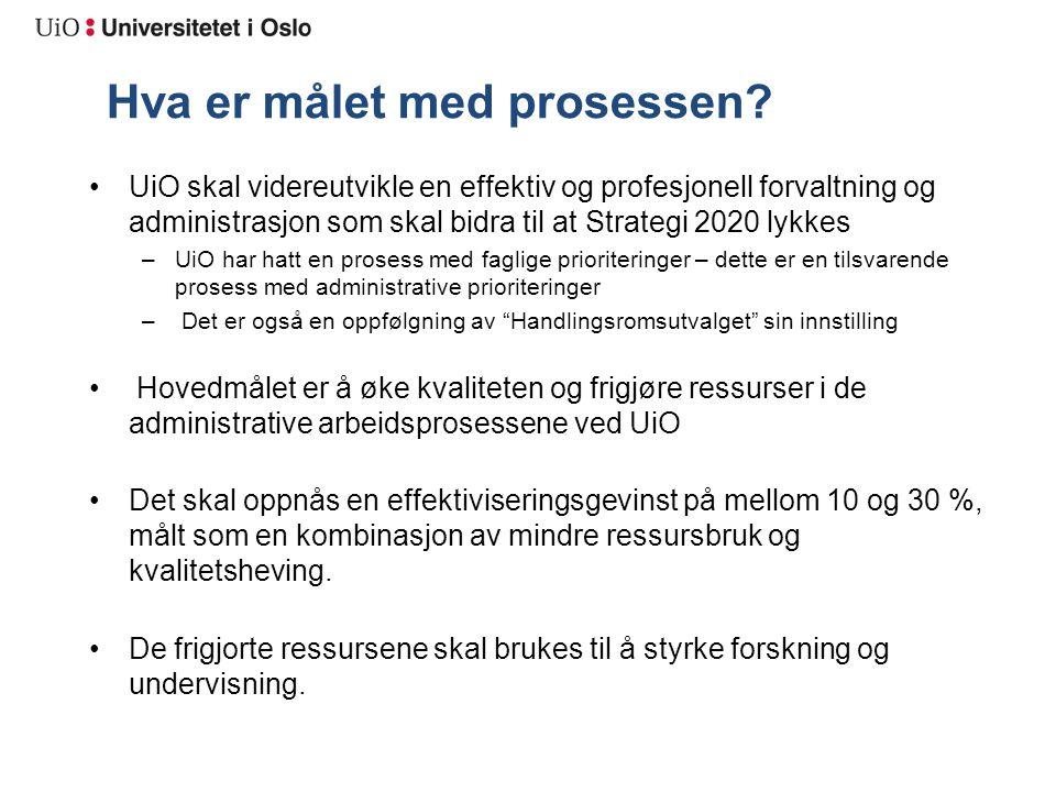 Hva er målet med prosessen? UiO skal videreutvikle en effektiv og profesjonell forvaltning og administrasjon som skal bidra til at Strategi 2020 lykke