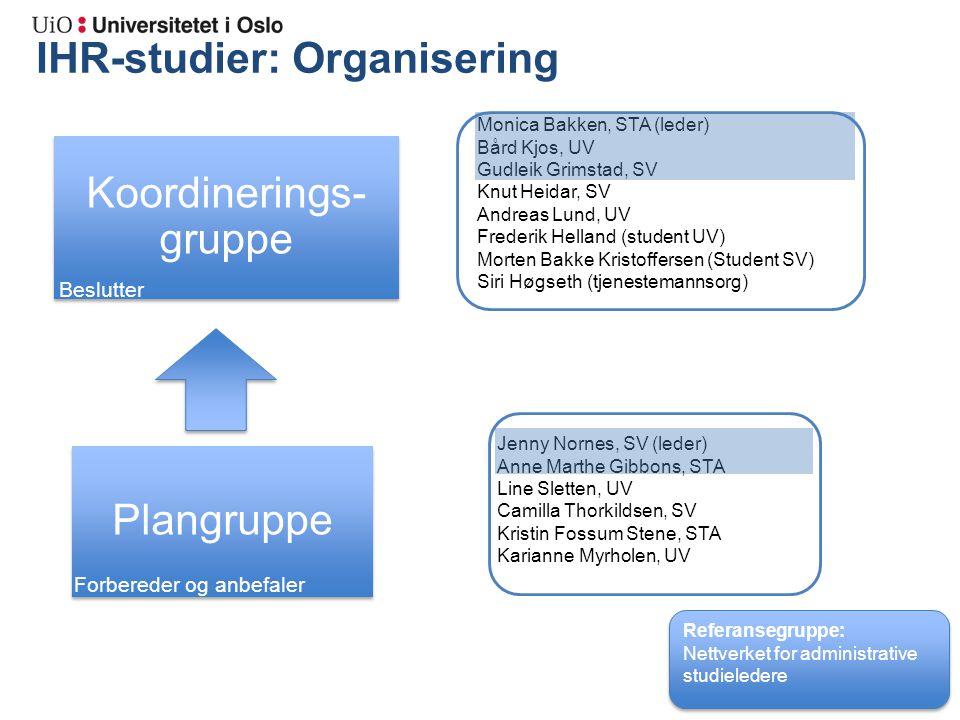 IHR-studier: Organisering Admin. ledere Monica Bakken, STA (leder) Bård Kjos, UV Gudleik Grimstad, SV Knut Heidar, SV Andreas Lund, UV Frederik Hellan