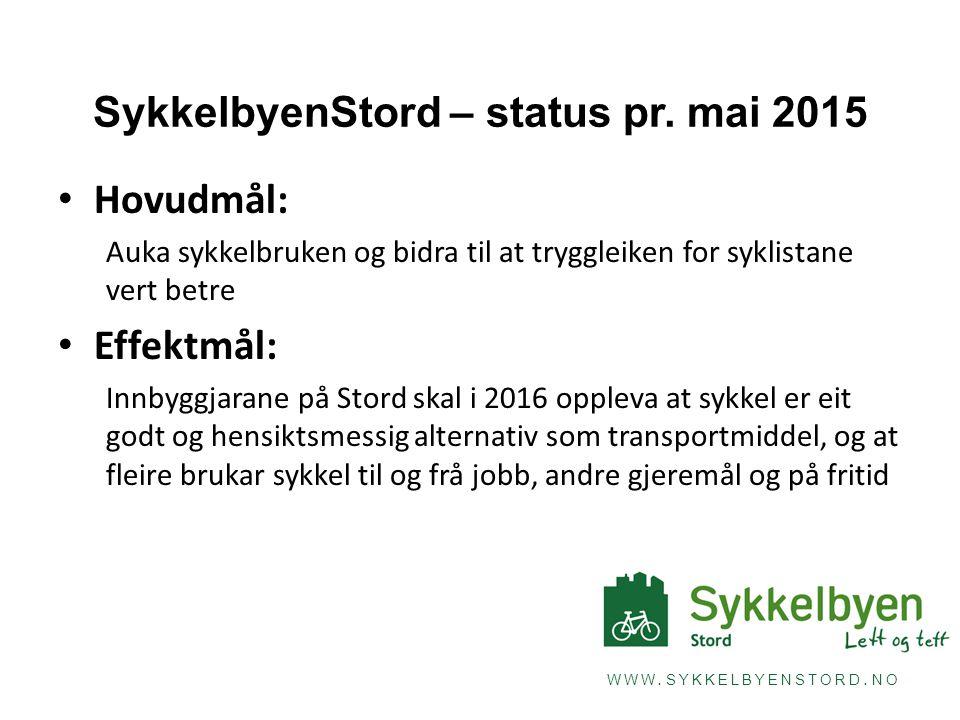 WWW. SYKKELBYENSTORD. NO SykkelbyenStord – status pr. mai 2015 Hovudmål: Auka sykkelbruken og bidra til at tryggleiken for syklistane vert betre Effek