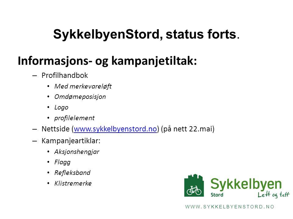 WWW.SYKKELBYENSTORD. NO SykkelbyenStord, status forts.