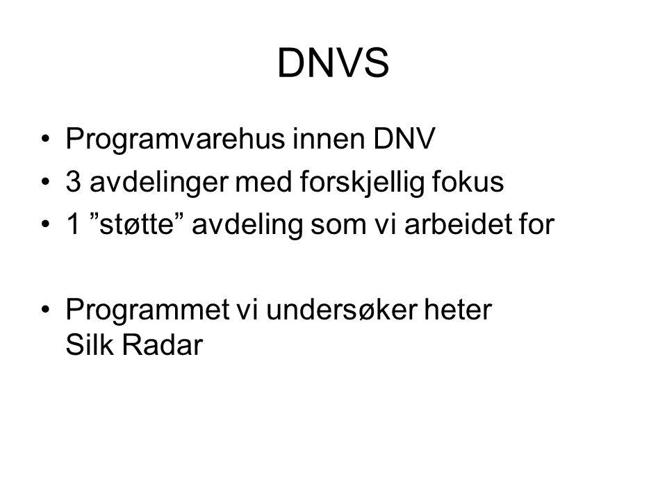 """DNVS Programvarehus innen DNV 3 avdelinger med forskjellig fokus 1 """"støtte"""" avdeling som vi arbeidet for Programmet vi undersøker heter Silk Radar"""