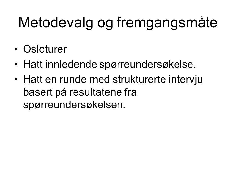 Metodevalg og fremgangsmåte Osloturer Hatt innledende spørreundersøkelse.
