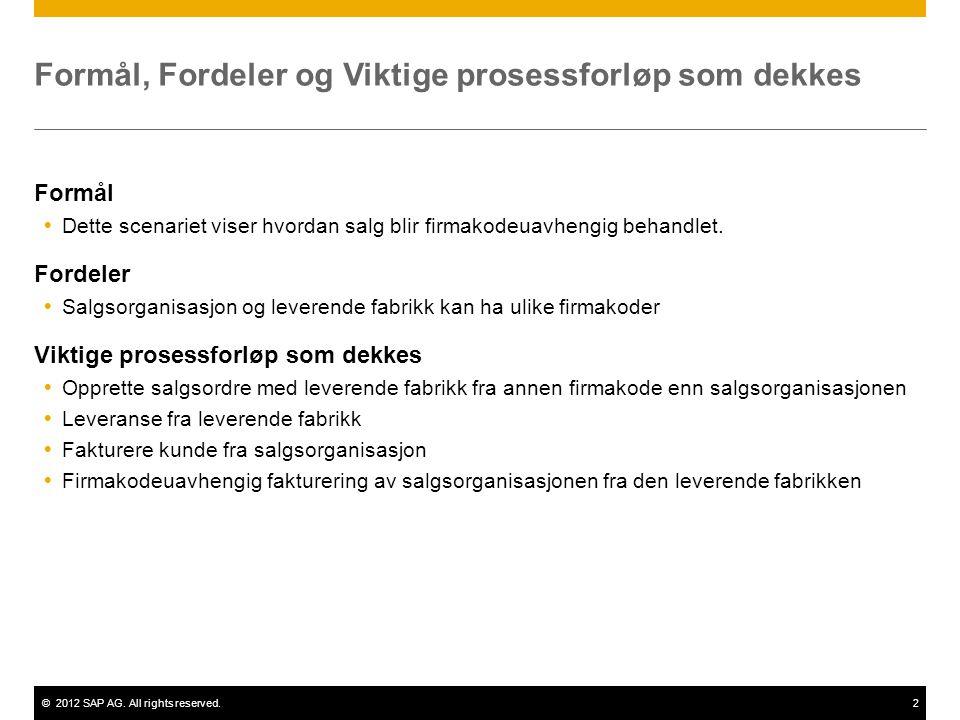 ©2012 SAP AG. All rights reserved.2 Formål, Fordeler og Viktige prosessforløp som dekkes Formål  Dette scenariet viser hvordan salg blir firmakodeuav