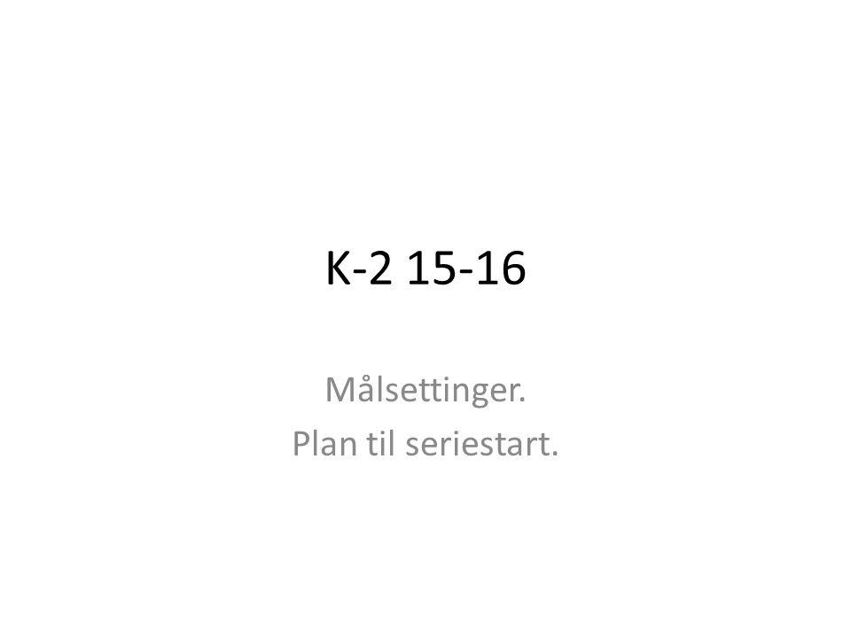 K-2 15-16 Målsettinger. Plan til seriestart.